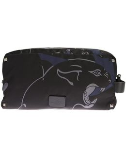 Panther Printed Black And Blue Nylon Overnight Case