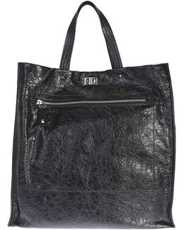Black Leather Rockstud Tote Bag