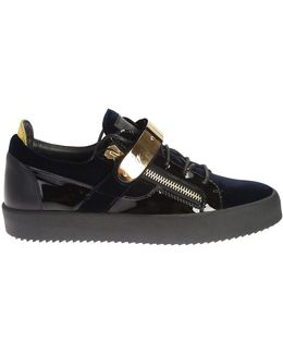 Velvet And Leather Veronica Sneakers With Gold Metal Details