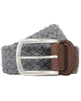 Grey Pleated Flannel Belt, Brown Detail
