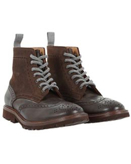 Leather and Suede Brogue Boots