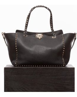 Black Rockstud Trapeze Medium Bag