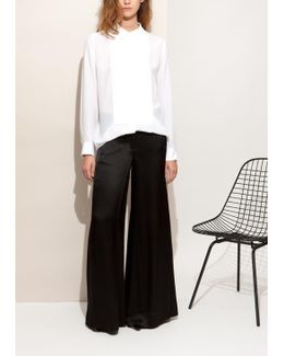 Black Loose Trousers In Hammered Satin