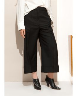Black Large Pants Cropped In Wool