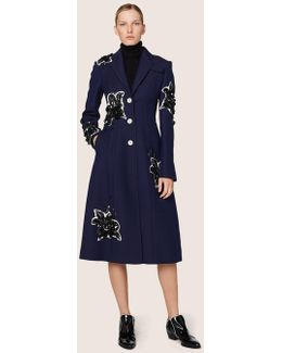 Long Tailored Notch Lapel Coat With Lily Embroidery