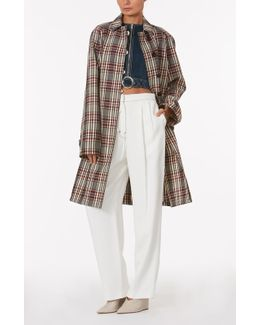 Plaid Collared Trench Coat