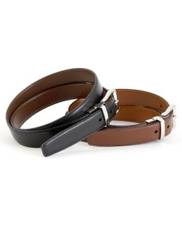 """saddle"" Reversible Leather Belt"