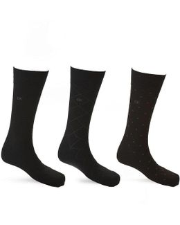 Patterned Crew Dress Socks 3-pack