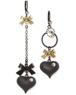 Mismatched Bow And Crystal Heart Earrings
