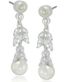 Faux-pearl Floral Drop Earrings