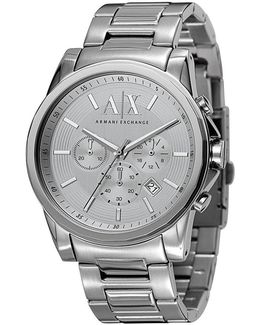 Ax Silvertone Stainless Steel 3 Hand Chronograph Watch