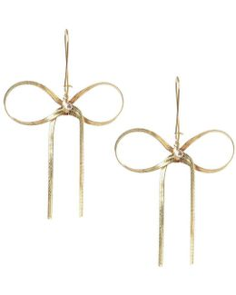 Crystal Goldtone Bow Drop Earrings