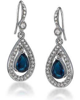 Simply Blue Pavé And Crystal Teardrop Earrings
