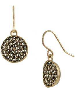 Pavé Disc Drop Earrings