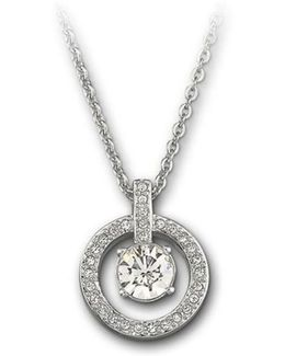 Lavender Crystal Chaton Circle Pendant Necklace