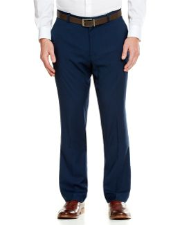 Slim-fit Stretch Solid Flat-front Pants