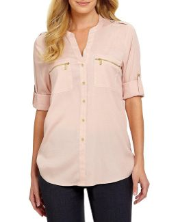 Zip-pocket Roll Tab Blouse
