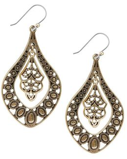 Gold Filigree Oblong Drop Earrings
