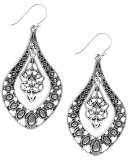 Silver Filigree Oblong Drop Earrings