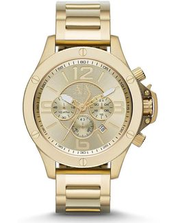 Ax Brushed Goldtone Ip Stainless Steel Chronograph Watch