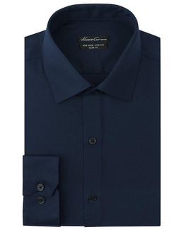 Non-iron Stretch Slim-fit Spread-collar Solid Dress Shirt