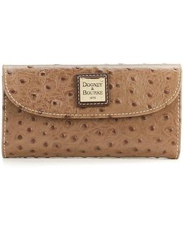 Ostrich-embossed Continental Clutch Wallet