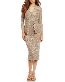Scalloped Lace Jacket Dress