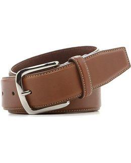 Burnished-edge Leather Belt