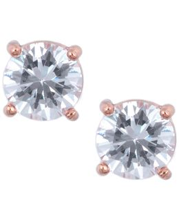 Round Rose Gold Crystal Stud Earrings