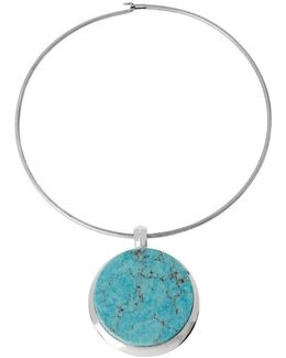 Round Turquoise Pendant Wire Choker Necklace