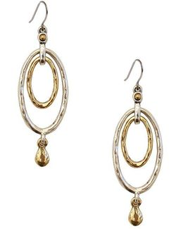 Two-tone Oval Orbital Earrings