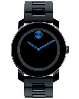 Large Black & Cobalt Blue Analog Bracelet Watch