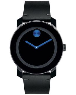 Black Leather Strap Swiss Quartz Stainless Steel Analog Watch