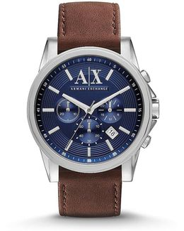 Ax Stainless Steel Leather Strap Chronograph Watch