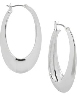 Sculptural Oval Hoop Earrings