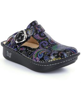 Classic Paisley-print Leather Clogs