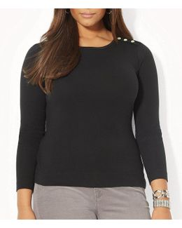 Plus Buttoned-shoulder Top