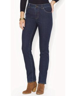 Petites Super-stretch Heritage Straight-leg Rinse-wash Jeans