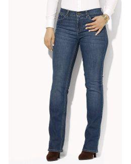 Plus Super-stretch Classic Straight-leg Harbor-wash Jeans