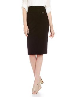 Wide Waistband Ponte Knit Pencil Skirt