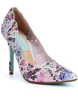 Blue By Elsa Jeweled Laser-cut Satin Pointed-toe Pumps