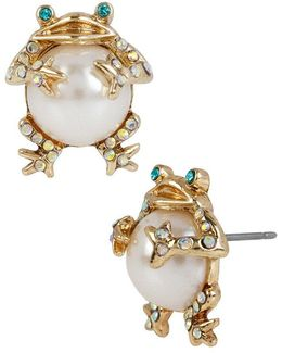 Faux-pearl & Crystal Frog Stud Earrings