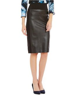Faux-leather Ponte Knit Pencil Skirt