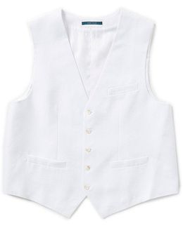Big & Tall Solid Linen Vest