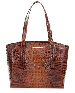 Toasted Almond Collection Paris Croco-embossed Business Tote