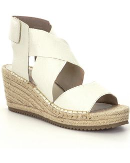 Willow Tumbled Leather Criss Cross Banded Wedge Espadrilles