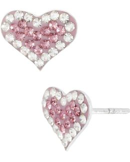 Pink Pavé Heart Stud Earrings