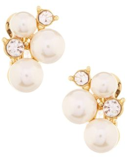 Faux-pearl Cluster Clip-on Earrings