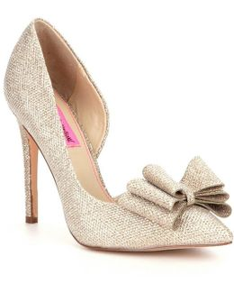 Metallic Bow Detai Lprince Pumps