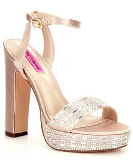 Alliie Satin Gem Embellished Block Heel Platform Sandals